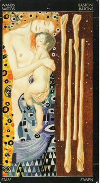 Four of Wands, Golden Tarot of Klimt