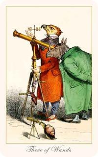 Three of Wands, Fantastic Menagerie Tarot