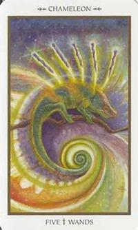 Five of Wands, Animals Divine Tarot